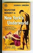 NEW YORK'S UNDERWORLD by Simenon, rare Signet #1338 crime gga pulp vintage pb