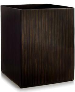 """Hotel Collection Deep Brown Wood Veneer Wastebasket 9.5"""" H"""