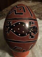 Kenya Folk Art Handcrafted Decorative Simbols and Signs Etched Stone Egg