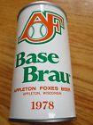 1978 AF BASE BRAU Appleton Foxes ORANGE & GREEN 12 oz Commemorative Emptyt Can