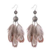 Bohemian Boho Bronze Dream Catcher Multiple Feather Tassel Women Hook Earrings