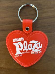 Vintage Las Vegas UNION PLAZA Keychain Key Chain Live It Up Hotel Casino Heart
