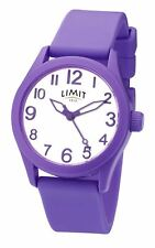 Reloj Unisex límite Púrpura Esfera Blanca & Correa Suave Púrpura 5722