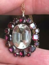 Antique Georgian Gorgeous Foiled Garnet and Crystal Quartz Pendant Necklace