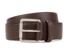 New Hugo Boss Brown Grain Leather Casual Jeans Belt Roller Buckle EU 85 US 32