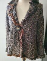 Curio Cardigan Sweater Jacket Boho Look with Fringe Size XL Multicolor