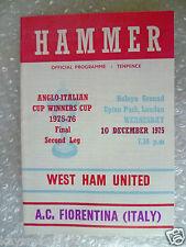 1976 West Ham United V AC FIORENTINA (ITALIA) 10 DEC (VINCITORE COPPA ANGLO ITALIAN CUP