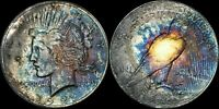 1922 PEACE SILVER DOLLAR BU BLUE/BRONZE/PURPLE NICLEY TONED!