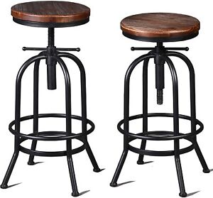 Industrial Bar Stool-26-32 Inch Adjustable Swivel Metal Wood Stool (Silver 2pcs)