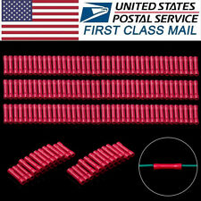 150x Butt Splice Tube Red Insulated Wire 18-22AWG Connector Crimp Terminal New
