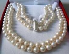 2Reihen 8-9 weißer Akoya Perlenkette 43-45cm