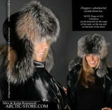 0a3c92f1c5882 ARKTIKA® Crystal Silver Fox Unisex Fur Hat Ushanka Russian Trapper Trooper