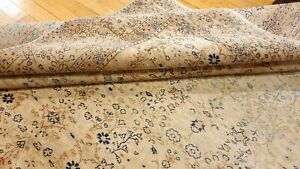 Bohemian Antique 1950's Distressed Wool Pile Muted Color Oushak Area Rug 7x10ft