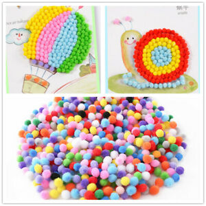 100pcs Fluffy Pom Poms Pack Round Ball Mixed Color For DIY Garland Craft Soft