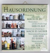 Dekofliese Dekobild Wandbild Bild Geschenkidee Mitbringsel Hausordnung (004DP)