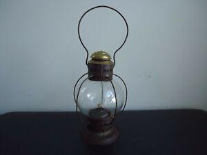 Antique Brass Top Bell Bottom Fixed Globe Tin Railroad Kerosene Lantern