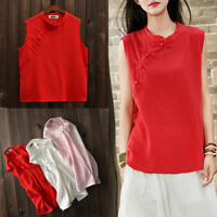 Women Sleeveless T-Shirt Cotton Linen Chinese Style Shirt Tops Blouse