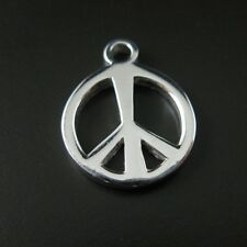 925 Sterling Silver Charms - Peace Sign -Silver Thick Peace Charm ( 12 mm )