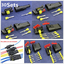 30 Kits 1 2 3 4 5 6P Way Sealed Waterproof Autos Electrical Wire Connector Plug