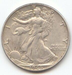 1946 Double Die Reverse Walking Liberty Half Dollar, Lustrous AU