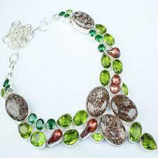 "Handmade Arizona Petrified Wood 925 Sterling Silver Necklace 17"" #H00053"