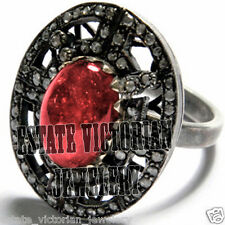 Amazing Vintage Antique 2.07Ct Rose Cut Diamond Ruby Studded Jewelry Silver Ring