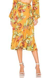 Patbo Zebrina Yellow Wrap Skirt Small