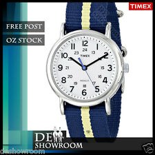 Timex Men's Weekender Blue Fabric Watch Indiglo T2P142 Post