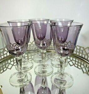 Purple Water Wine Bubble Glass Bulbous Clear Stem Goblets Set 6 Vintage #A6