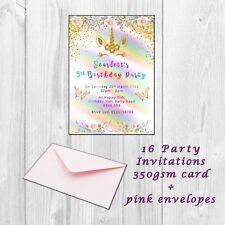16 Personalised Unicorn Birthday Party Invitations Invites,  Kids girls invites