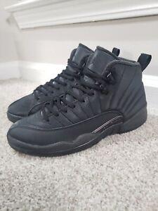 NIKE Air Jordan 12 Retro Winterized Shoes - Triple Black - Mens 8.5 - BQ685 001