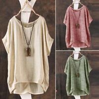 Womens Oversized Loose Casual Linen Shirt Blouse Tops Pullover Dress Clothing US