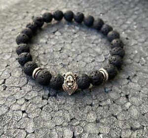 Armband Lavastein 8mm Unikat Löwenkopf Löwe Armband Perle Perlenarmband Geschenk