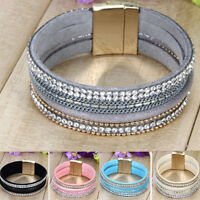 Punk Leather Wrap Wristband Fashion Cuff Crystal Magnetic Bracelet Bangle