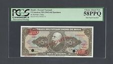 Brazil 5 Cruzeiros ND(1962-64) P176bs Specimen TDLR About Uncirculated