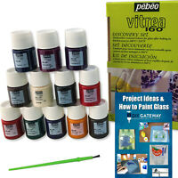 Permanent Glass Paint Stain Kit, Bakable for Superior Bond, 12 Pack, 20ml Colors