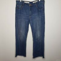Pilcro and The Letterpress High-Rise Flare Denim Jeans Raw Hem Womens Size 32