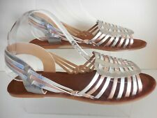 8b8f4abaae7e Flat Silver   Gold Multi Leather Sandals Size 6 Wide Fit (EEE) New From
