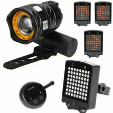 Bike Bicycle LED Headlight & Wireless Turn Signal Tail Light Kit Rechargeable US