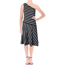 NEW! Ralph Lauren one shoulder black white striped A- line dress small MSRP $185