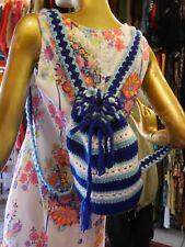 Rucksack 70er gehäckelt Festival Hippie blau TRUE VINTAGE 70s crochet backpack