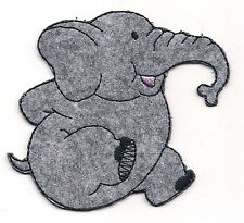 "2 3/4"" Cute Gray Sitting Elephant Embroidery Patch"