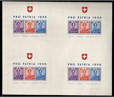 Switzerland 1936 PRO PATRIA S/Sx4, Mi. 294-296=Block 2x4**, MNH, scarce, CV $550