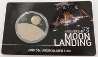 .SCARCE 2009 40TH ANNIVERSARY OF MOON LANDING CARDED UNC 50c.