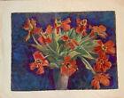 Helene Kirsch mid century 1977 watercolor tulips Austrian still Life