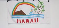 Vintage Hawaii Souvenir Beach Bath Towel Rainbow Sailboat Palm Trees Ocean