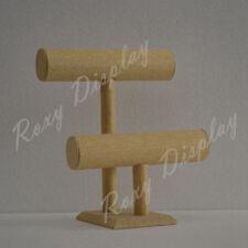 Linen Bracelet Display 2 Bars Wooden Color #JW-LN-2BARS