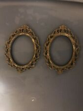 """2 Vintage Picture Frame Small Oval Ornate Brass Tone Metal Made In Italy 5 2/8"""""""