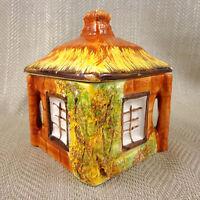 Cottage Oggetto Conservazione Barattolo con Coperchio Pot Dipinto a Mano Vintage