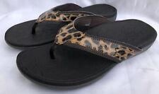 DR. SCHOLLS Brown Leopard Print T-Strap Wedge Sandal Size US9